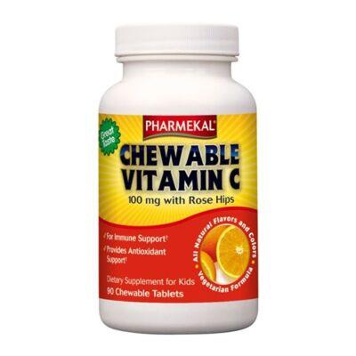 C-vitamin és csipkebogyó kivonat rágótabletta 90 db Pharmekal