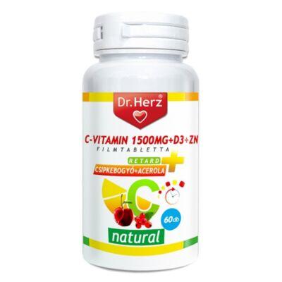 DR. Herz C-vitamin 1500mg+D3+Zn csipkebogyóval és acerola kivonattal 60 db tabletta