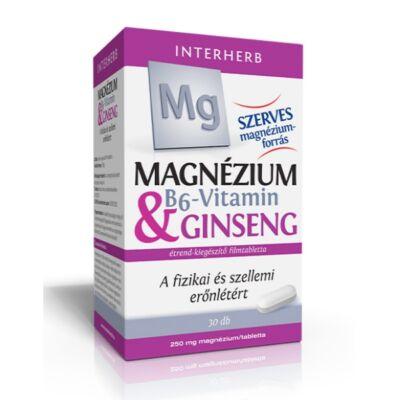 Interherb Magnézium tabletta 250mg & B6-vitamin & Ginseng 30db