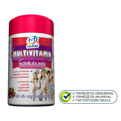 1x1 Multivitamin+cink és vas rágótabletta 60db
