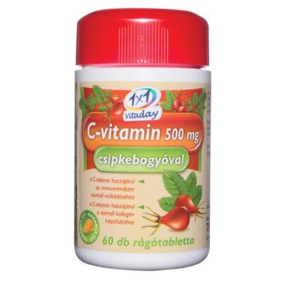 1x1 Vitaday C-vitamin 500mg csipkebogyóval rágótabletta 60db