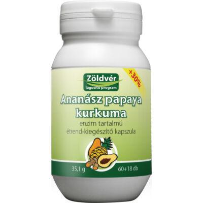 Ananász-papaya-kurkuma kapszula (60+18 db) Zöldvér