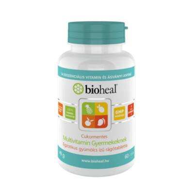 Bioheal Cukormentes Multivitamin Gyermekeknek  egzotikus gyümölcs ízű rágótabletta 70db