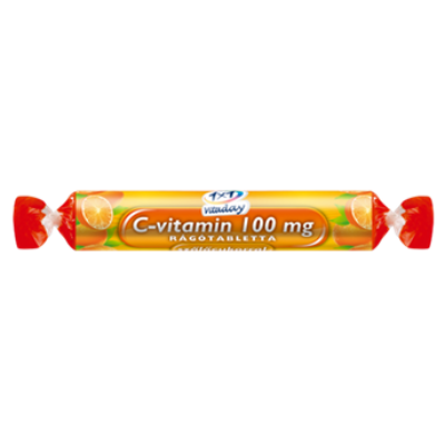C-vitamin 100 mg rágótabletta szőlőcukorral (narancs ízű) 17db