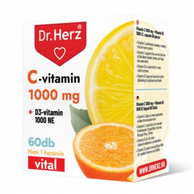 Dr. Herz C-vitamin 1000 mg + D3-vitamin 1000 NE kapszula 60 db