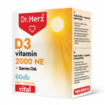 Dr. Herz D3-vitamin 2000 NE + szerves cink kapszula 60 db